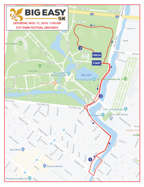 Big Easy 5K Course Map